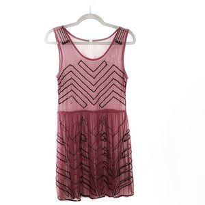 Free People Sheer Burgundy Beaded Dress